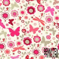 Jersey Coton Elasthanne Imprimé Papillon Libellule Fleur ton Rose fond Blanc Cassé