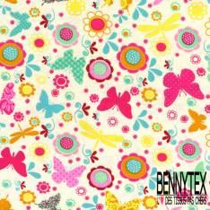 Jersey Coton Elasthanne Imprimé Papillon Libellule Fleur ton Multicolore fond Blanc Cassé