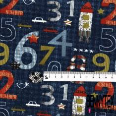 Jersey Coton Elasthanne Imprimé Numéro et Chiffre Rigolos Fantaisies fond Marine
