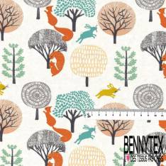 Jersey Coton Elasthanne Imprimé Ecureuil dans la Forêt fond Balnc Cassé