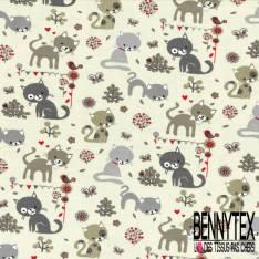 Jersey Coton Elasthanne Imprimé Paresseux et Girafe dans la Savane fond Emeraude