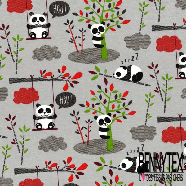 Jersey Coton Elasthanne Imprimé Petit Chat Coloris Naturel fond Naturel