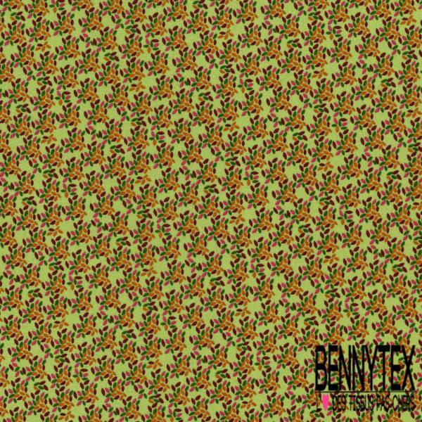 Coton imprimé Motif Minuscule Feuille Volante Prune Rose Vert Orange fond Tilleul