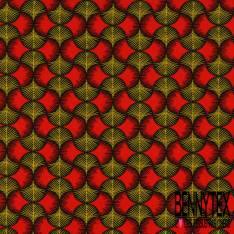Coton imprimé Motif Plume de Paon Rouge