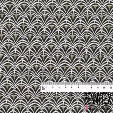 Coton imprimé Motif Japonisant Géométrique ton Gris