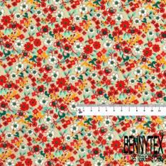 Coton imprimé Motif Petite Fleur Champêtre fond Sable