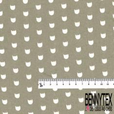 Coton imprimé Motif Petit Cuicui Rigolo fond Mastique