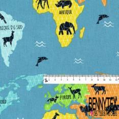 Coton Crétonne imprimé Carte du Monde des Animaux