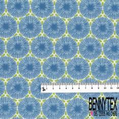 Coton Crétonne imprimé Abstrait Fantaisie ton Bleu