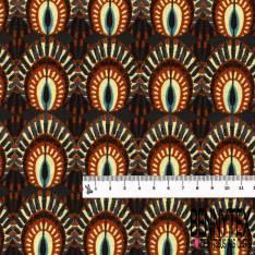 Coton Crétonne imprimé Plume de Paon Stylisé ton Marron