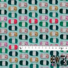 Coton imprimé Digital Pelote de Laine Multicolore fond Vert Givré