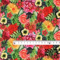 Coton imprimé Digital Fleur Tropicale ton Rouge Jaune Rose
