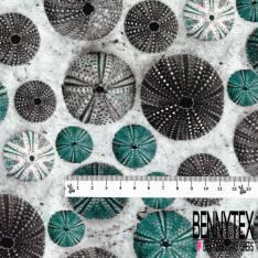 Coton imprimé Digital Oursin sans Epine Bleu Gris fond Blanc