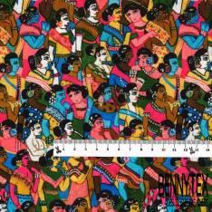 Coton imprimé Digital Thème Bollywood Inde Multicolore