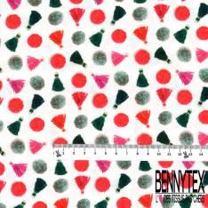 Coton imprimé Digital Thème Pompon de Laine Vert Rouge Rouge fond Blanc