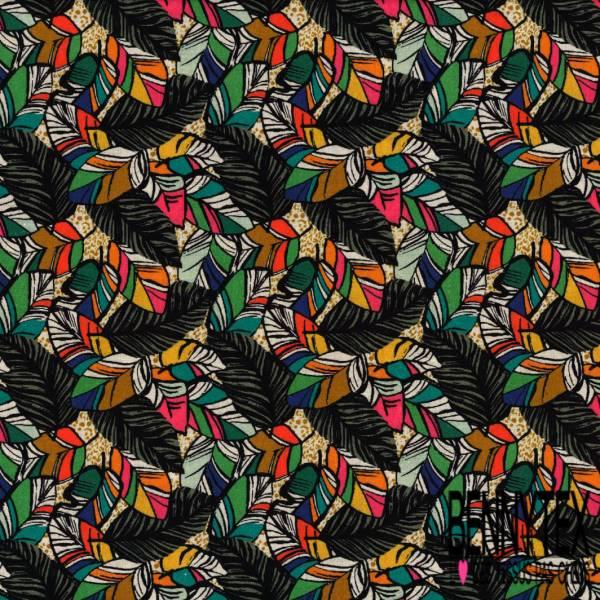 Coton imprimé Digital Thème Feuille Fantaisie Multicolore