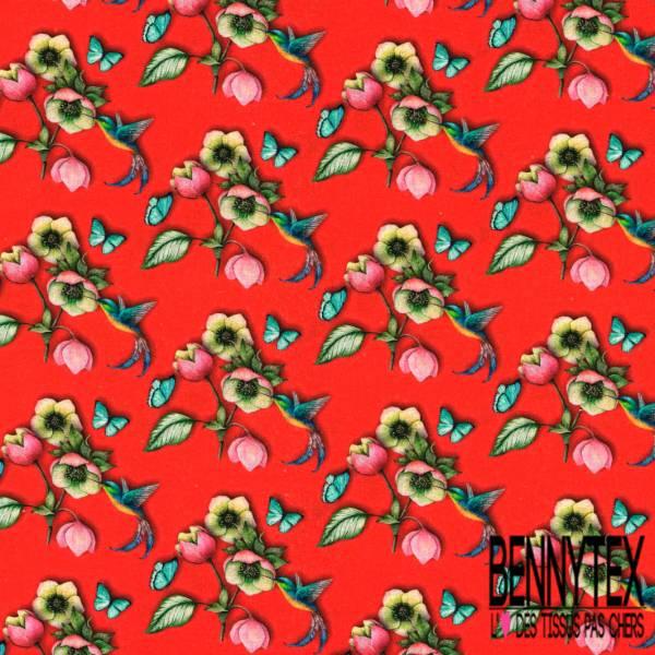 Coton imprimé Digital Thème Colibri Butinant le Nectar fond Rouge Vif