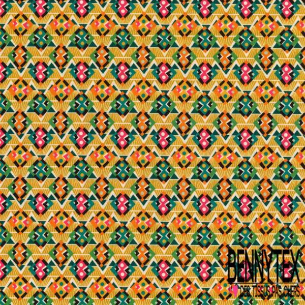 Coton imprimé Digital Thème Motif Abstrait Amérindien Tribal Multicolore