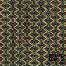 Coton imprimé Digital Thème Motif Abstrait Africain Wax Tribal ton Rouge Olive Kaki