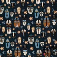 Coton imprimé Digital Thème Motif Masque Africain fond Navy