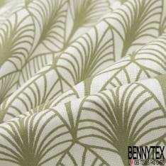 Coton Crétonne imprimé Motif Feuille Tropicale Japonisante Kaki fond Blanc Cassé