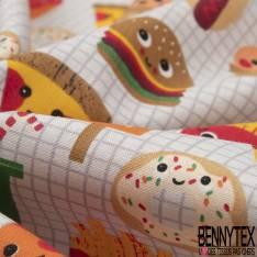 Coton imprimé Motif Imprimé Fastfood Kawai fond Carreau Perle