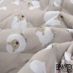 Coton Matelassé imprimé Recto Mouton fond Beige Verso Tiret fond Blanc