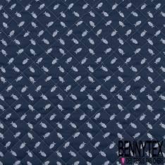 Coton Matelassé imprimé Recto baleine fond Blanc Verso Poisson fond Marine