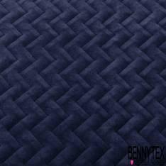 Coton Velours Bleu Nuit Matelassé Recto