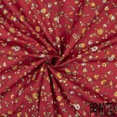 Coton imprimé Digital Thème Floral Provençal fond Rouge