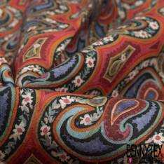 Coton imprimé Digital Thème Floral Tropical fond Turquoise