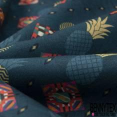 Coton imprimé Digital Thème Peau de Serpent ton Noir Rouge Jaune