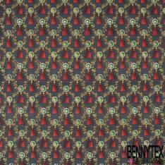 Coton imprimé Digital Thème Broche à pierre Précieuse et Pompon Rouge fond Anthracite