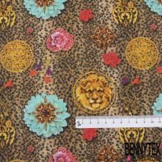 Coton imprimé Digital Thème Motif Broche Lion Or et Chaine
