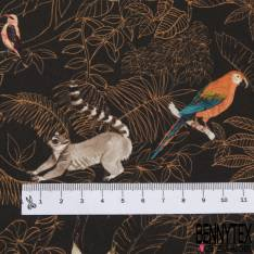 Coton imprimé Digital Thème Motif Floral Vintage fond Moutarde