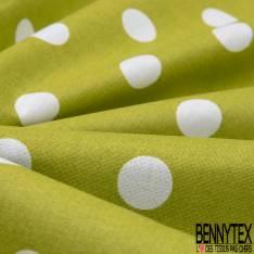 Coton Crétonne imprimé Gros Pois Blanc fond Vert Pomme