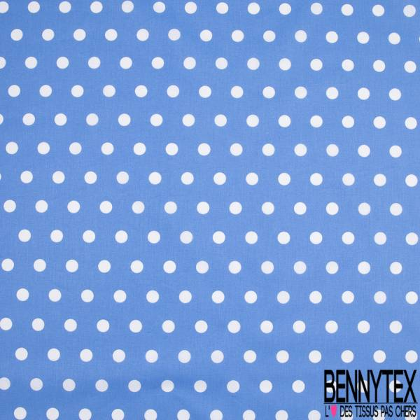 Coton Crétonne imprimé Gros Pois Blanc fond Bleu Océan