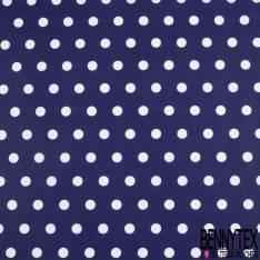Coton Crétonne imprimé Gros Pois Blanc fond Bleu Marine