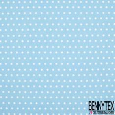 Coton Crétonne imprimé Petit Pois Blanc fond Turquoise