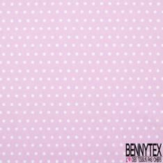 Coton Crétonne imprimé Petit Pois Blanc fond Rose Bonbon