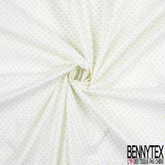 Coton imprimé Motif Petit Pois Anis fond Blanc