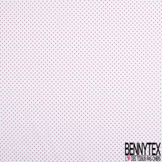 Coton Elasthanne imprimé Motif Petit Pois Fushia fond Blanc