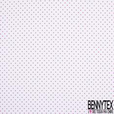 Coton Elasthanne imprimé Motif Petit Pois Rose fond Blanc