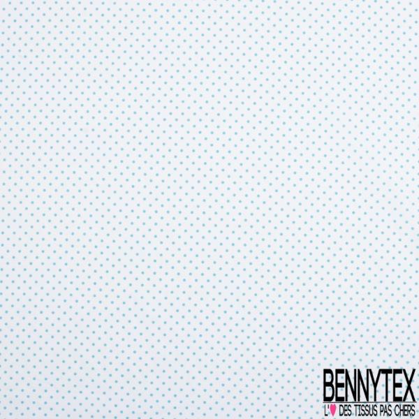 Coton Elasthanne imprimé Motif Petit Pois Turquoise fond Blanc