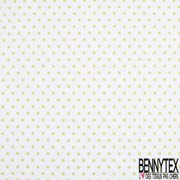 Coton Elasthanne imprimé Motif Pois Anis fond Blanc