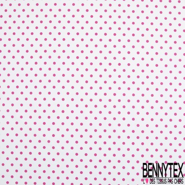 Coton Elasthanne imprimé Motif Pois Fushia fond Blanc
