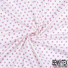 Coton Elasthanne imprimé Motif Pois Rose fond Blanc