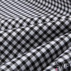 Coton Elasthanne imprimé Motif Petit Vichy Noir fond Blanc