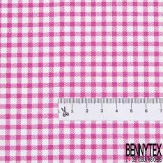 Coton Elasthanne imprimé Motif Petit Vichy Fushia fond Blanc