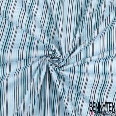 Coton Elasthanne imprimé Motif Rayure Verticale Turquoise Noir Blanc